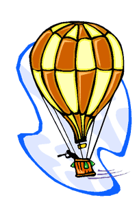 man in balloon with spyglass