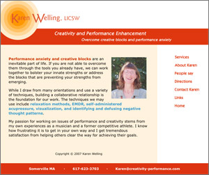 Creativity & Performance, Karen Welling, LICSW